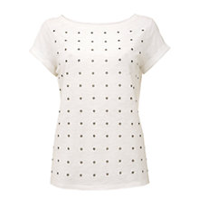 Buy Mint Velvet Eyelet T-Shirt, Ivory Online at johnlewis.com