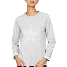 Buy Mint Velvet Embroidered Star Sweatshirt, Grey Online at johnlewis.com