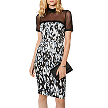 Buy Karen Millen Leopard Print Sheer Yoke Pencil Dress, Black/Multi Online at johnlewis.com