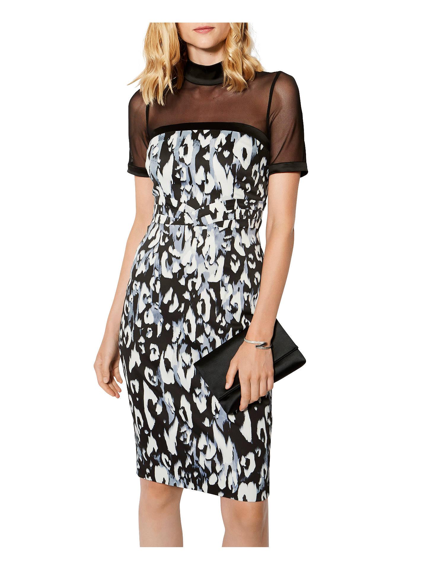 78ef1af35fb5 Buy Karen Millen Leopard Print Sheer Yoke Pencil Dress, Black/Multi, 6  Online ...