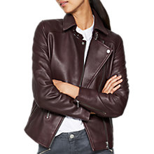 Buy Mint Velvet Bordeaux Leather Zip Biker Jacket Online at johnlewis.com