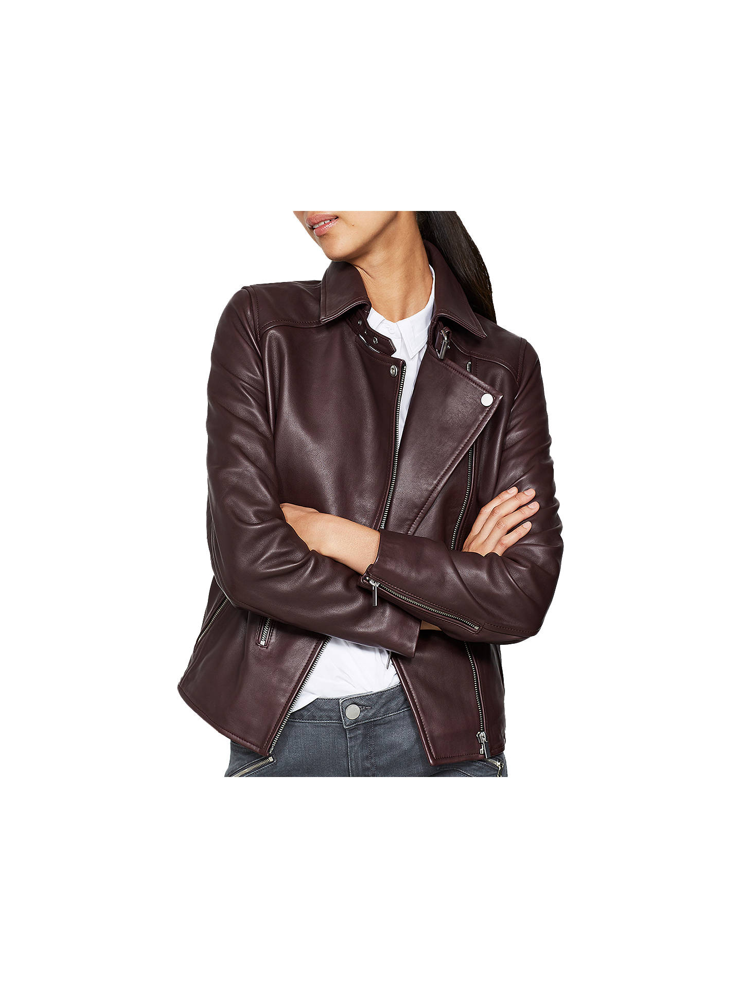 e55c5dc60364 Buy Mint Velvet Bordeaux Leather Zip Biker Jacket, Dark Red, 6 Online at  johnlewis ...