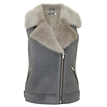 Buy Mint Velvet Faux Fur Aviator Gilet, Light Grey Online at johnlewis.com