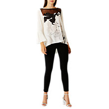 Buy Coast Iris Print Boat Neck Top, Monochrome Online at johnlewis.com
