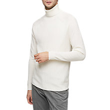 Buy Reiss Felton Textured Roll Neck Jumper, Ecru Online at johnlewis.com