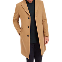 Buy Jaeger Long Collar Button Up Coat, Camel Online at johnlewis.com