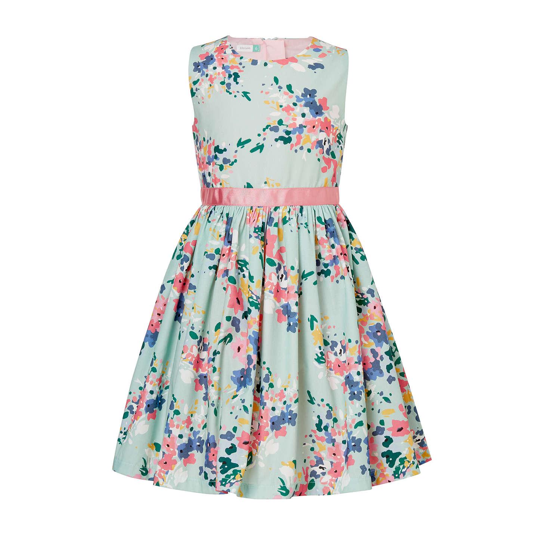 John Lewis Girls\' Blossom Print Dress, Teal at John Lewis