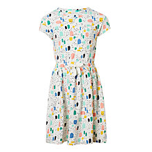 Buy John Lewis Girls' Geometric Print Jersey Dress, Cream Online at johnlewis.com