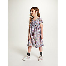 Buy John Lewis Girls' Floral Frill Dress, Blue/Multi Online at johnlewis.com