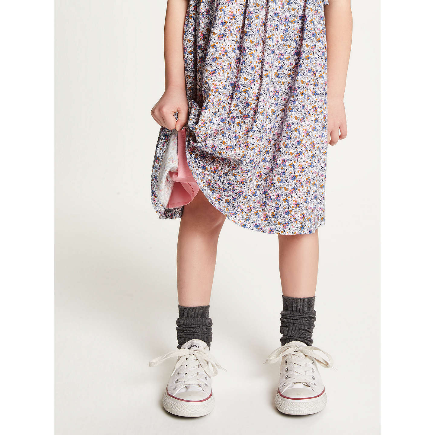 BuyJohn Lewis Girls' Floral Frill Dress, Blue/Multi, 2 years Online at johnlewis.com