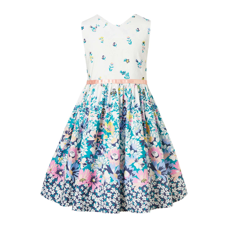 John Lewis Girls\' Vintage Floral Dress, White/Blue at John Lewis