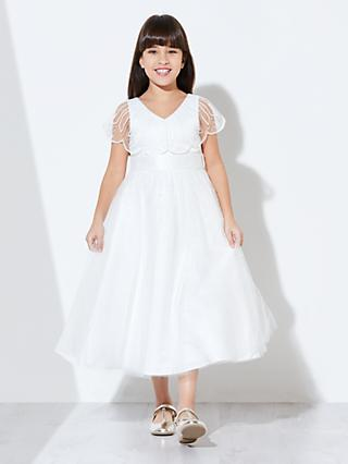 John Lewis & Partners Girls' Sequin Scallop Bodice Dress, Ivory