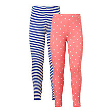 Buy John Lewis Girls' Stripe And Polka Dot Leggings, Pack of 2 Online at johnlewis.com