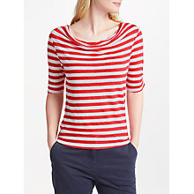 Buy John Lewis Cowl Neck Linen Jersey Top, White/Washed Red Online at johnlewis.com