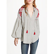 Buy AND/OR Georgina Stripe Blouse, Ivory/Black/Red Online at johnlewis.com