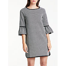 Buy Max Studio Frill Sleeve Jacquard Dress, Black/White Online at johnlewis.com
