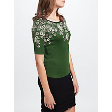 Buy Marc Cain Floral Print Jersey Top, Pine Needle Online at johnlewis.com