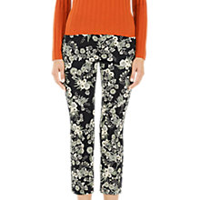Buy Marc Cain Floral Print Cropped Trousers, Black Online at johnlewis.com