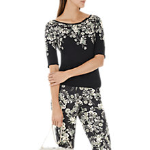 Buy Marc Cain Floral Print Jersey Top, Black Online at johnlewis.com