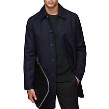 Buy Reiss Arnold Wool Herringbone Mac, Navy Online at johnlewis.com
