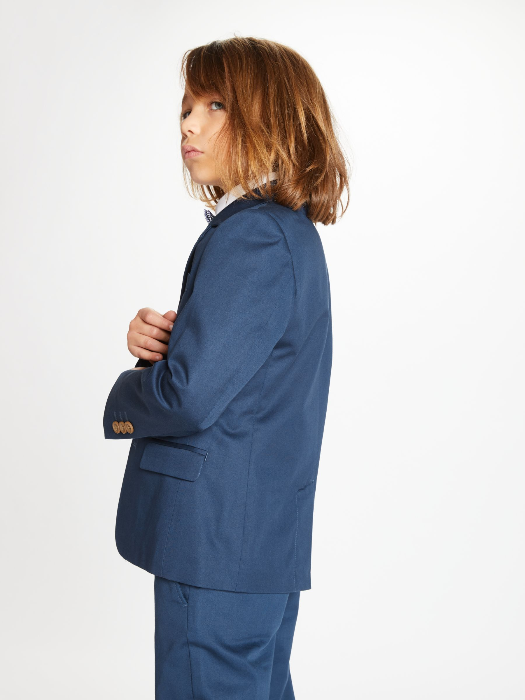 John Lewis Partners Heirloom Collection Boys Cotton Sateen Suit Jacket Blue At John Lewis Partners