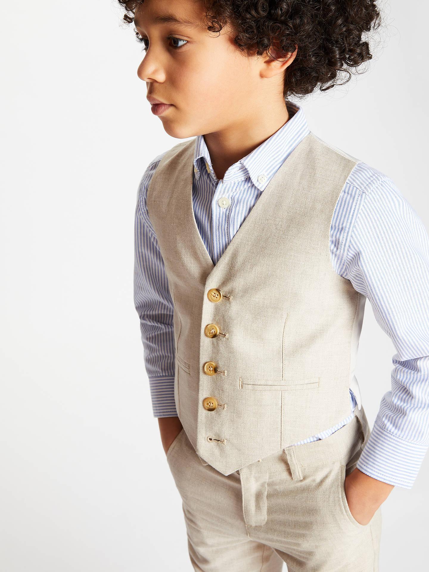 088c3b82a8308 John Lewis & Partners Heirloom Collection Boys' Linen Suit Waistcoat ...