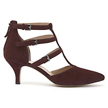 Buy Mint Velvet Laurie Triple Strap T-Bar Court Shoes, Dark Red Online at johnlewis.com