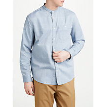 Buy JOHN LEWIS & Co. Recycled Cotton Textured Weave Grandad Shirt, Blue Online at johnlewis.com