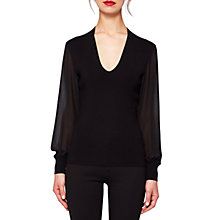 Buy Ted Baker Silk Sleeve V Neck Jumper, Black Online at johnlewis.com