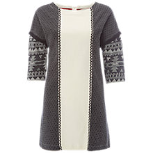 Buy White Stuff Jacquard Panel Jersey Tunic Top, Black Online at johnlewis.com