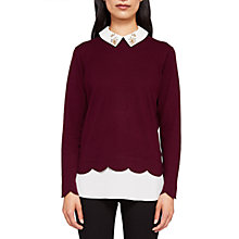 Buy Ted Baker Suzaine Embellished Collar Jumper, Maroon Online at johnlewis.com
