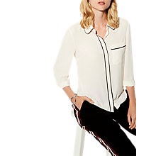 Buy Karen Millen Soft Shirt With Piping, Ivory Online at johnlewis.com