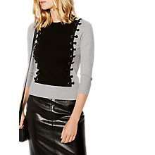 Buy Karen Millen Fine Gauge Knit Eyelet Jumper, Grey/Multi Online at johnlewis.com