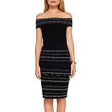 Buy Ted Baker Diraz Bardot Knitted Bodycon Knee Length Dress, Black/White Online at johnlewis.com