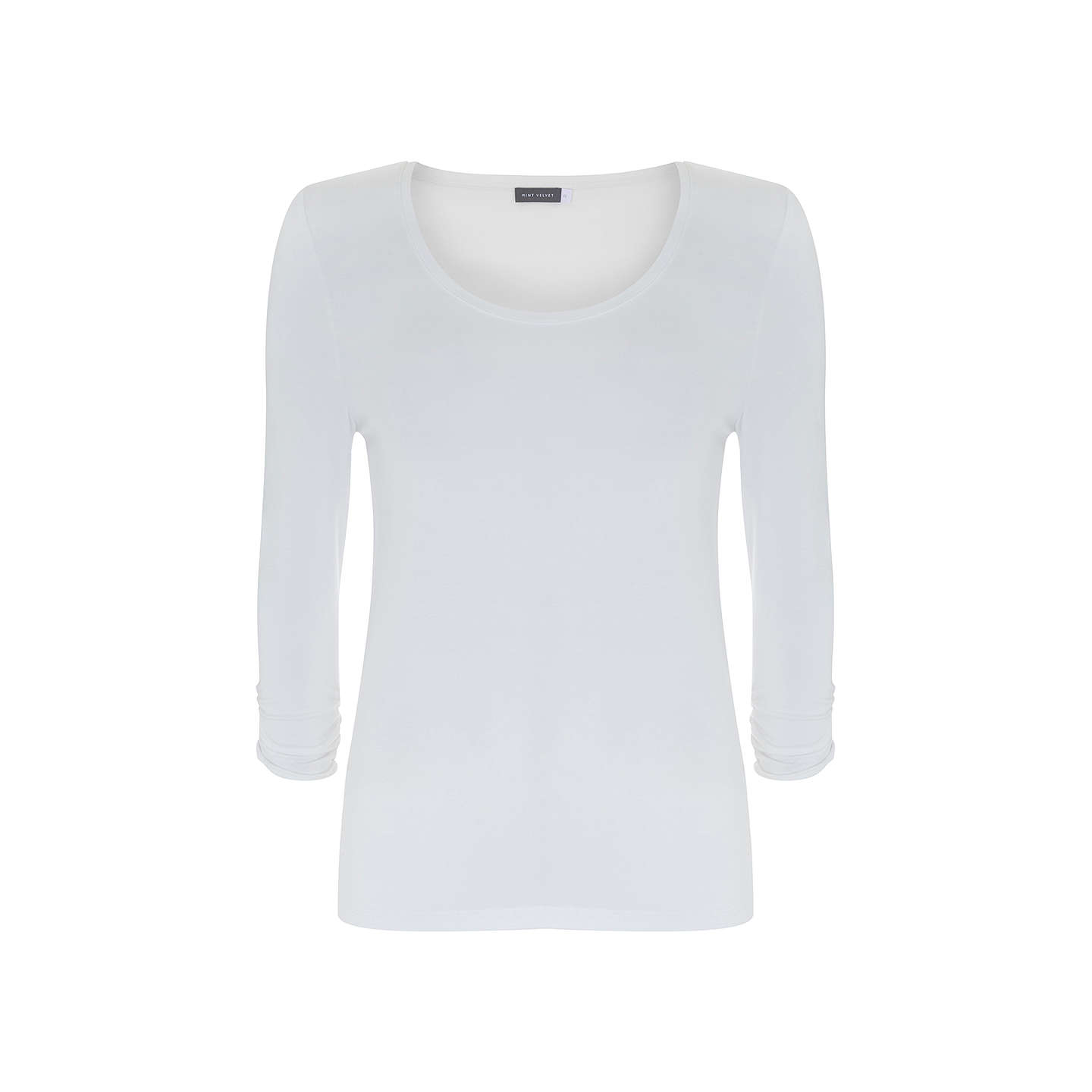 BuyMint Velvet Scoop Neck T-Shirt, Ivory, XL Online at johnlewis.com
