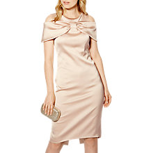 Buy Karen Millen Bow Front Cold Shoulder Knee Length Shift Dress, Champagne Online at johnlewis.com