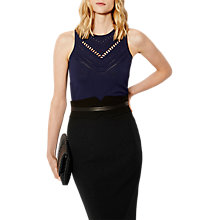Buy Karen Millen Travelling Body Stitch Top, Navy Online at johnlewis.com