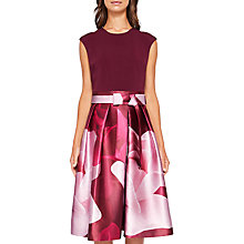 Buy Ted Baker Lyla Porcelain Rose Dress, Maroon Online at johnlewis.com