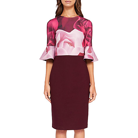 Buy Ted Baker Tzalva Porcelain Rose Bodycon Dress, Maroon | John Lewis