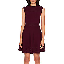 Buy Ted Baker Aurbray Knitted Skater Dress, Maroon Online at johnlewis.com