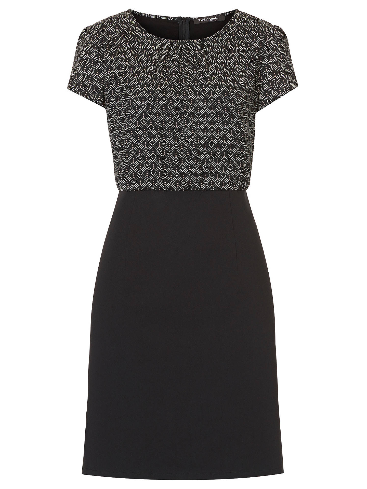 Buy Betty Barclay Print And Plain Dress, Black/White, 8 Online at johnlewis.com