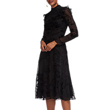 Buy Whistles Yvette Velvet Devore Dress, Black Online at johnlewis.com
