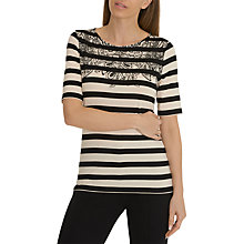 Buy Betty Barclay Floral Detail Striped T-Shirt, Black/Natural Online at johnlewis.com