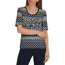 Buy Betty Barclay Graphic Floral Print Round Neck Top, Dark Blue/Sun Online at johnlewis.com