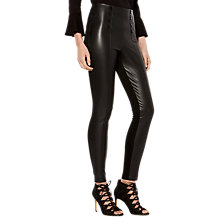 Buy Karen Millen Faux Leather Button Leggings, Black Online at johnlewis.com