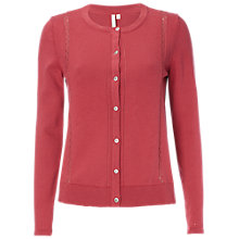 Buy White Stuff Pebble Lace Cotton Cardigan, Navajo Pink Online at johnlewis.com
