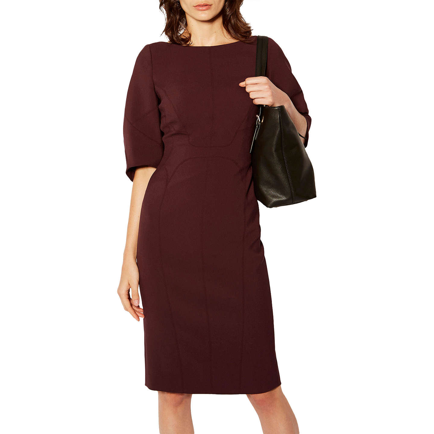 Karen Millen Sculptured Pencil Dress, Aubergine at John Lewis