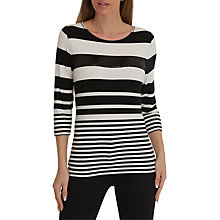 Buy Betty Barclay Stripe Three Quarter Length Sleeve Round Neck T-Shirt, Black/White Online at johnlewis.com