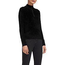 Buy Whistles Zip Front Chenille Knitted Jumper, Black Online at johnlewis.com