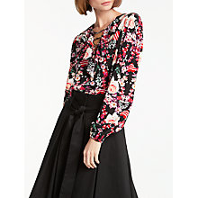 Buy Somerset by Alice Temperley Pirate Heart Lace Up Blouse, Black/Multi Online at johnlewis.com